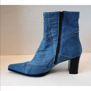 VIA SPIGA Patchwork Denim Pointy Toe Ankle Boots